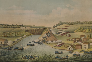 Painting of men blue uniforms crossing river in boats to fight battle with men in red uniforms.