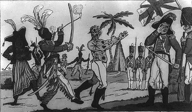 Cartoon of American prisoner be paraded around by American Indians while British officers watch
