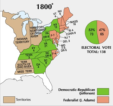Map of the US showing results of 1800 Presidental Election. Green color Jefferson, peach color Adams