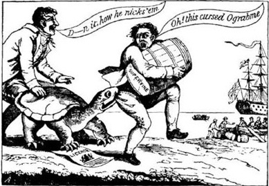 A cartoon depicting a merchant, carrying a barrel, being bitten on the backside by a turtle.
