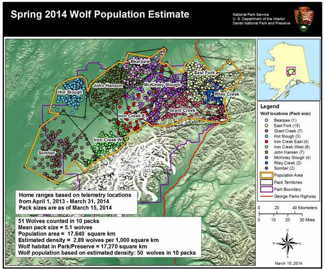Tracking The Movement Of Denalis Wolves US National Park Service - Maps of the location of wolves in the us