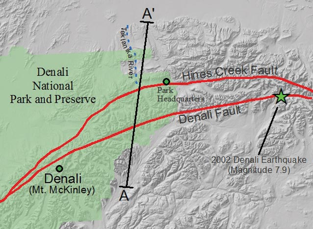 map with lines drawn to indicate nearly parallel fault lines
