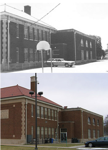 Two images compare the brick school building during different times.