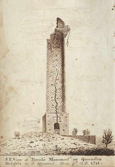 tall memorial column with section blown out of top