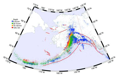 map of alaska with colors indicating earthquakes, mainly along the southern coast
