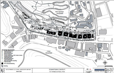 A site plan shows major and contextual buildings, roads, walkways, vegetation, and topography.