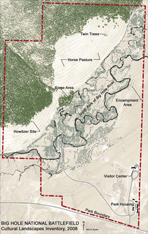 A site plan of the landscape shows the boundaries, terrain, and significant locations.