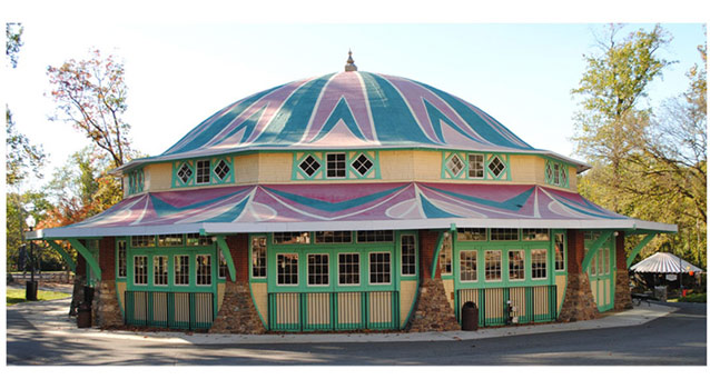 The domed Carousel House is painted in bright colors and was restored to match historic styles.