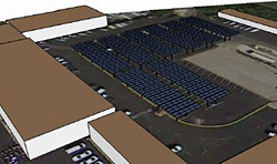 Rendering of maintenance yard solar carport at the National Mall