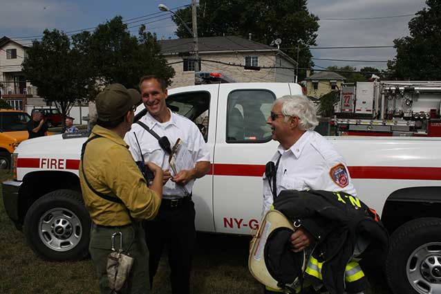 FDNY and NPS staff at the Coean Breeze Park fire of September 2014.