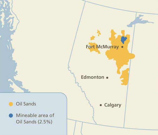 map of western canada with area in alberta colored to indicate oil sands