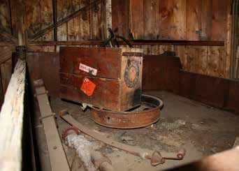 rusty metal equipment in a dirty room