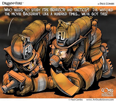 Cartoon of two firefighters talking while on the ground beneath a smoke layer.
