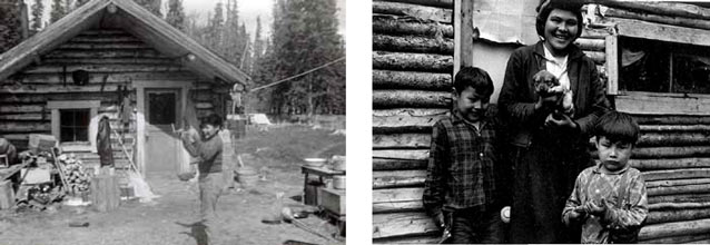 composite of two images; one of a log cabin, other of two kids and an adult
