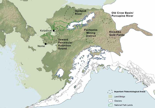 map of alaska with fossil rich areas circled