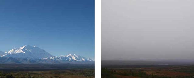 two images, one showing a snowy mountain under a blue sky the other showing a dense gray sky