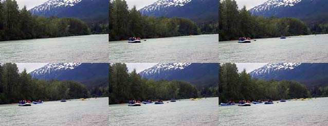 composite of six images of a river each showing more rafters on it