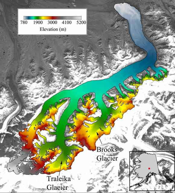 multi-colored map showing elevation of different areas on a glacier