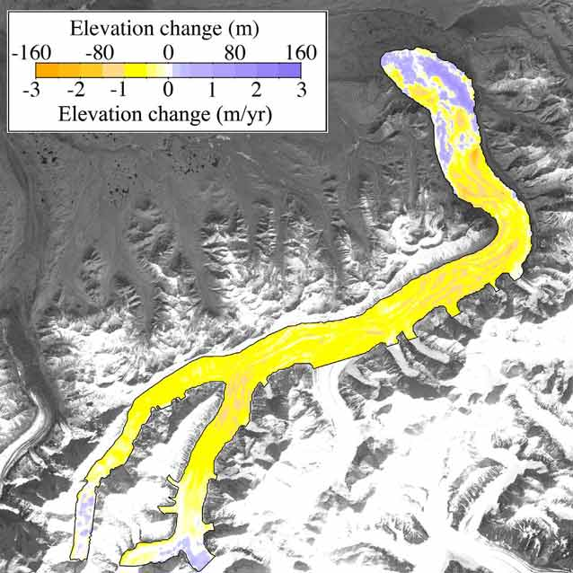 glacier colored mostly yellow and orange with a legend indicating loss in elevation