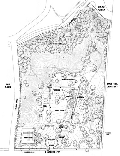 A site plan shows the vegetation, features, structures, topography, and boundaries at the site.