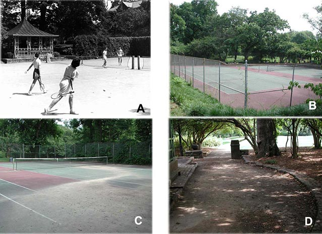 Four images compare the tennis court area, fencing, and Summerhouse.