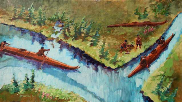 a painting of kayaks on a river