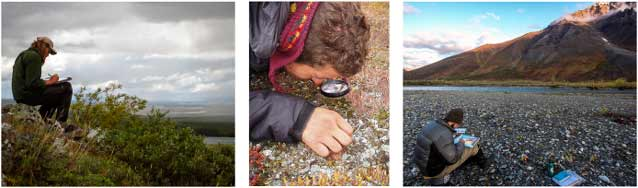 three images of people sitting in wilderness settings
