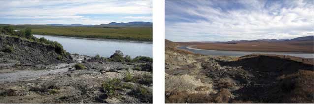 two images of the same area of slumped, muddy land near a river