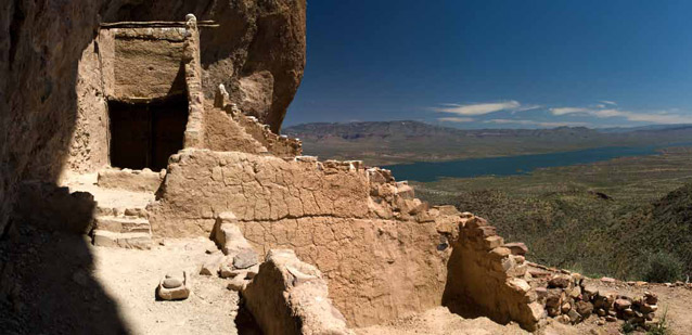 Looking out over Roosevelt Lake from Tonto National Monument's Lower Cliff Dwelling.