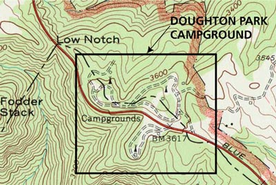 A square outline on a topographic map indications the location of Doughton Park Campground.