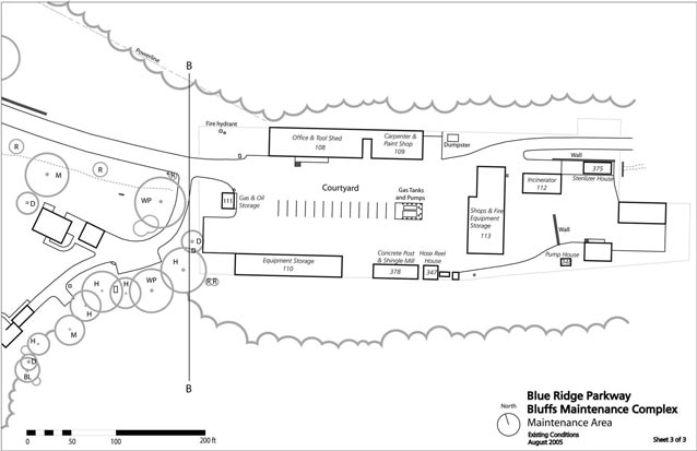 A site plan shows the arrangement of buildings and features at the maintenance complex.