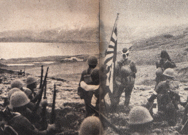 Japanase soldiers stand on U.S soil looking out at sea. They are holding a Japanese flag.