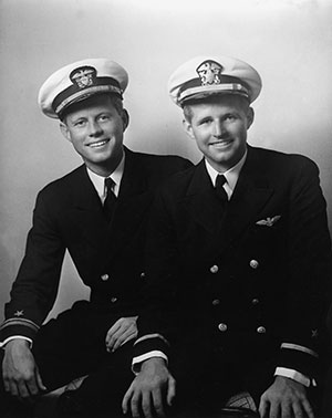 Lt.(jg) John F. Kennedy and Ensign Joseph P. Kennedy Jr., circa May, 1942