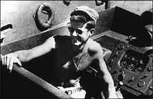 Lt. (jg) John F. Kennedy aboard the PT-109 in the South Pacific, 1943