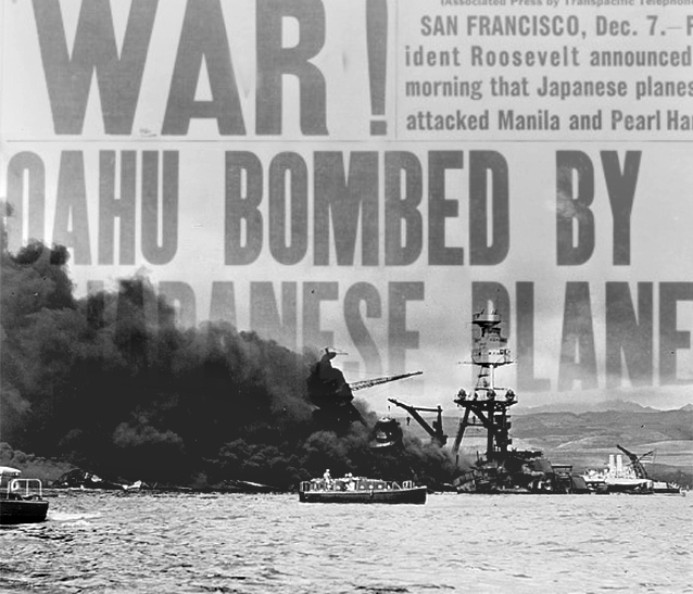 USS Arizona, at height of fire, following Japanese aerial attack on Pearl Harbor, Hawaii.