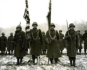 Two Japanese-American color guard and color bearers of the 442nd