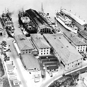 Early aerial view of the Port of Embarkation
