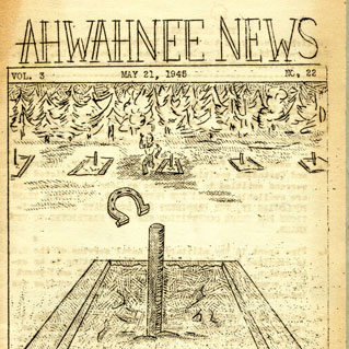 A yellowed copy of the cover of the Ahwahnee news; hand drawn cartoon of horseshoes game