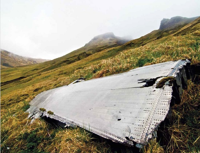 Metal airplane wing on a grassy hillside