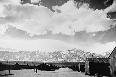 The dusty streets and tarpaper barracks of Manzanar