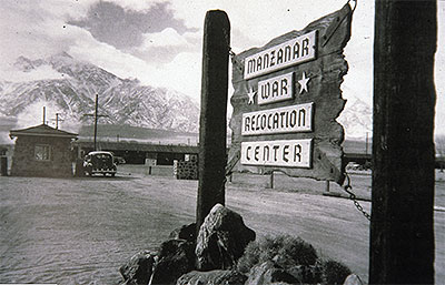 Armed military police guarded the entrance to Manzanar during World War