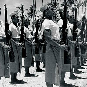 Samoan natives in platoon formation