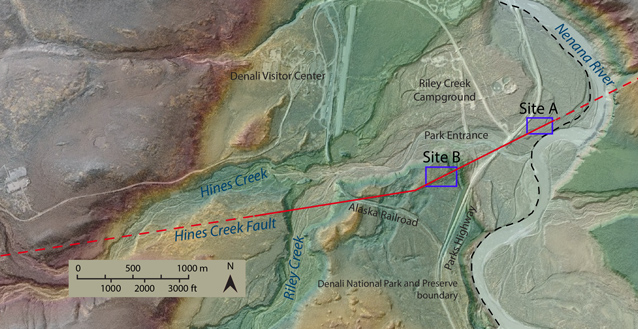 Map that shows that the Hines Creek Fault crosses through the Denali entrance area