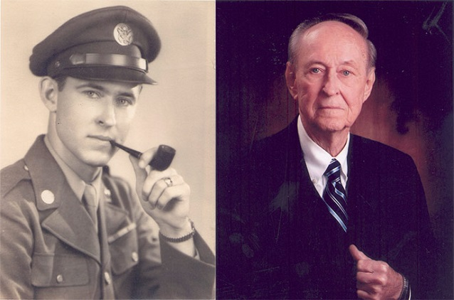 Left: black and white portrait of young man in uniform. Right: color portrait of older man