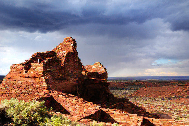 Storm clouds over the runis of Wupatki Pueblo