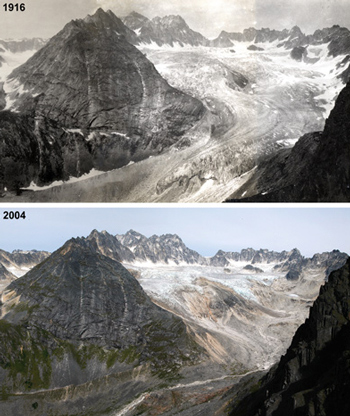 comparison of a glacier in 1916 and 2014 that shows it has shrunk