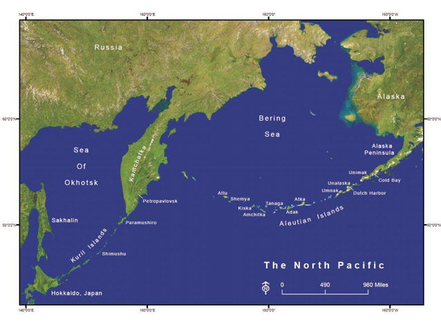 A map of the North Pacific area between East Asia and Alaska includes the Aleutian Islands.