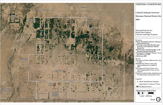 A site plan shows the arrangement of roads, structures, vegetation, and other features.