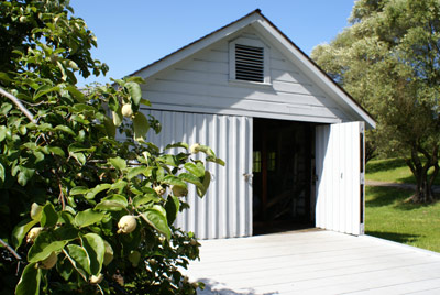 Once side of a double door is open in the front of a white garage, framed by quince trees.