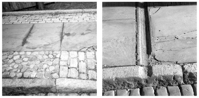 Two photos display the building materials that give the walkways and roads historic character.